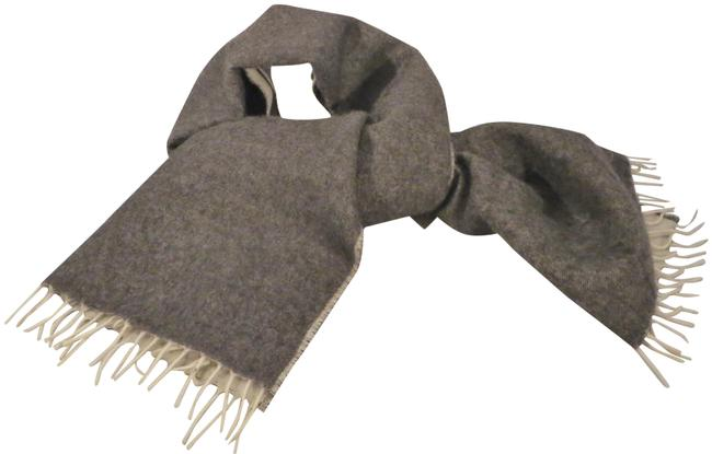 Item - Charcoal / Cream Cashmere and Wool Unisex Scarf/Wrap