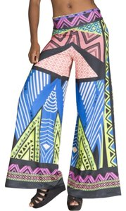 Flying Tomato Scuba Geometric Tribal Wide Leg Pants Mulit