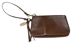 Coach Leather Chocolate Wristlet in Brown