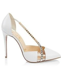 Christian Louboutin Pvc Jeweled Crystal Naked White Pumps