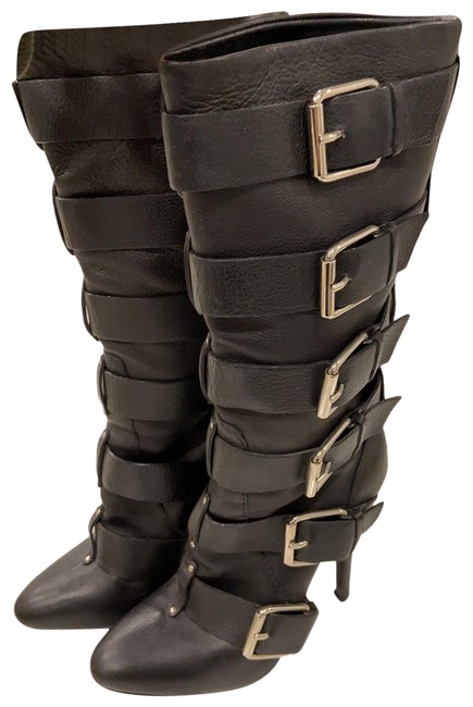 Item - Black with Silver Hardware Multi Buckle Boots/Booties Size EU 37 (Approx. US 7) Regular (M, B)