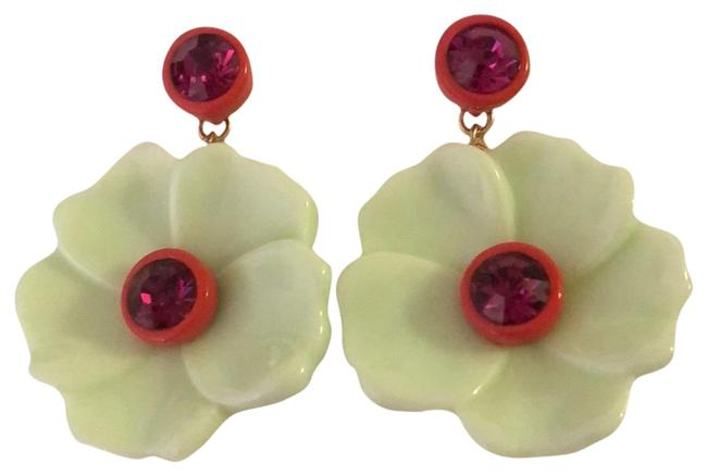 Item - Lithe Green Flower Crystals Drops Earrings