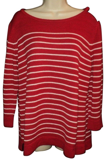 Item - Boat Neck...3/4 Sleeves...tunic Length Red & White Sweater