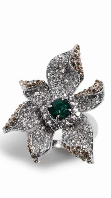 Item - Green Cocktail Pave Flower Ring