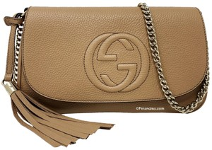 Gucci Brown Leather Tassels Soho Cross Body Bag