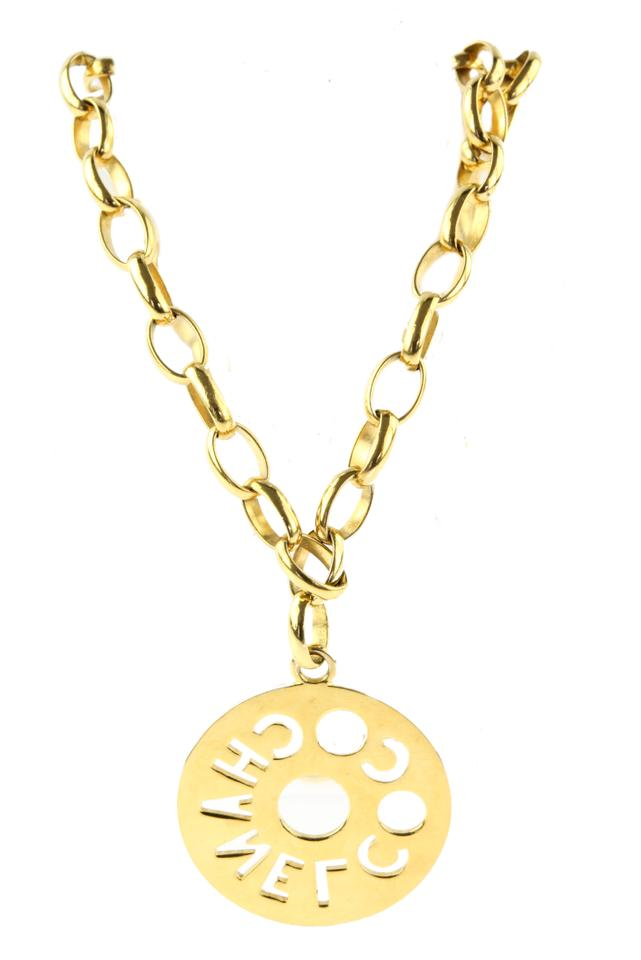 Chanel gold coco cutout circle pendant necklace tradesy chanel coco cutout circle pendant aloadofball Gallery