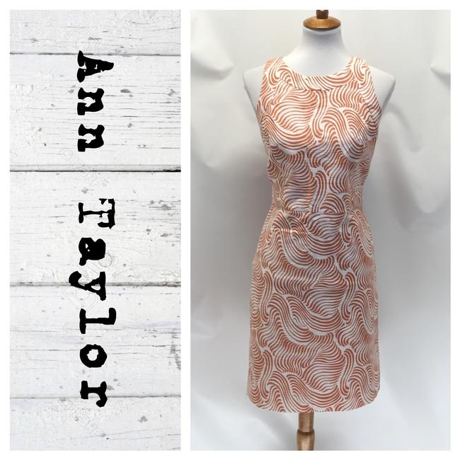 Preload https://img-static.tradesy.com/item/26649563/ann-taylor-orangecream-sheath-mid-length-workoffice-dress-size-petite-10-m-0-0-650-650.jpg