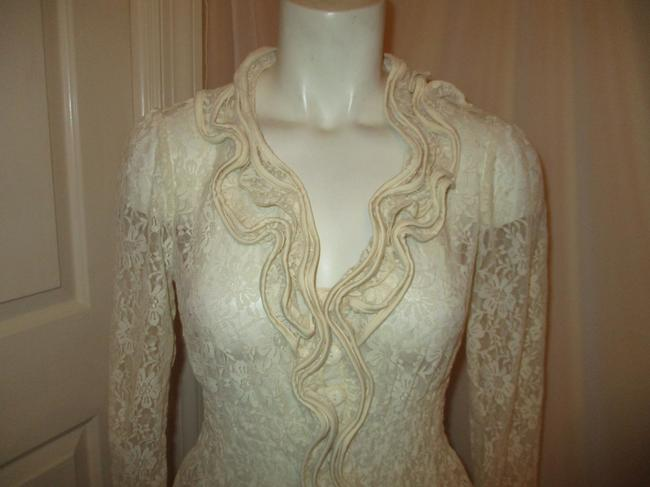 Midnight Velvet Lace Sheer Ruffled Onm001 Top ivory Image 1