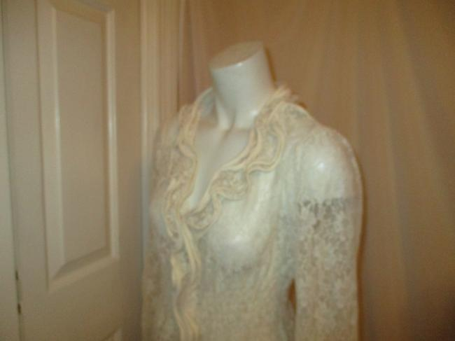 Midnight Velvet Lace Sheer Ruffled Onm001 Top ivory Image 10