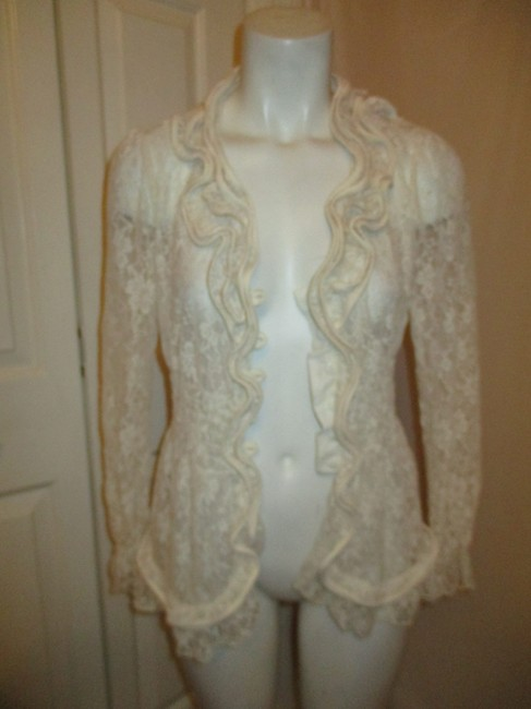 Midnight Velvet Lace Sheer Ruffled Onm001 Top ivory Image 11