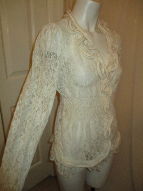 Midnight Velvet Lace Sheer Ruffled Onm001 Top ivory Image 3