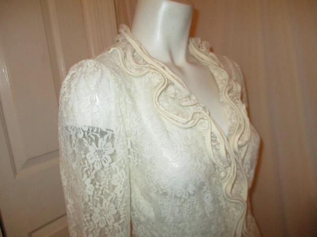 Midnight Velvet Lace Sheer Ruffled Onm001 Top ivory Image 4