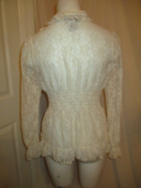 Midnight Velvet Lace Sheer Ruffled Onm001 Top ivory Image 6