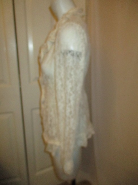 Midnight Velvet Lace Sheer Ruffled Onm001 Top ivory Image 8