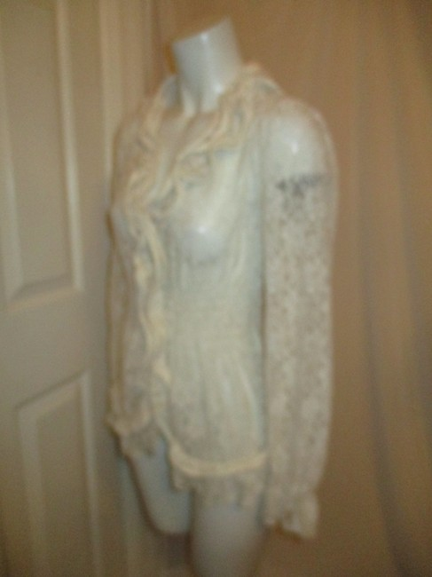 Midnight Velvet Lace Sheer Ruffled Onm001 Top ivory Image 9