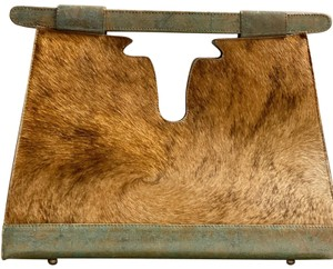 Julie Beth Satchel in teal and gold special stain with cowhide
