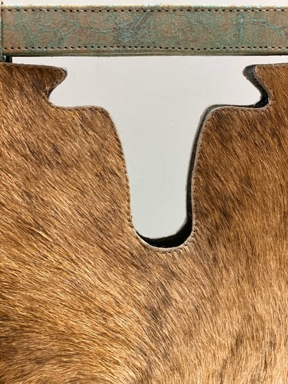 Julie Beth Satchel in teal and gold special stain with cowhide Image 10