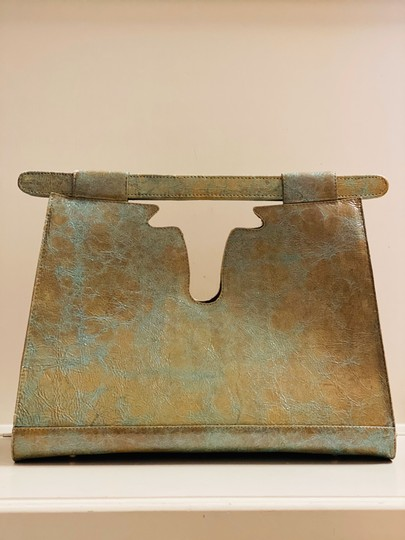 Julie Beth Satchel in teal and gold special stain with cowhide Image 2