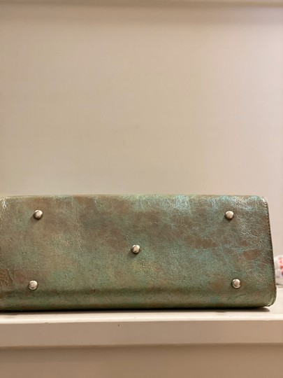 Julie Beth Satchel in teal and gold special stain with cowhide Image 7
