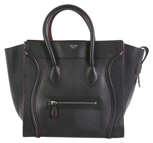 Céline Handbag Leather Tote in black with red