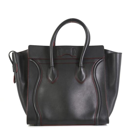 Céline Handbag Leather Tote in black with red Image 2