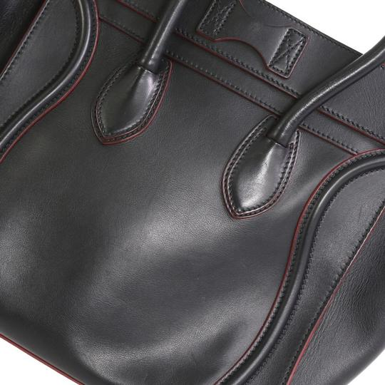 Céline Handbag Leather Tote in black with red Image 8