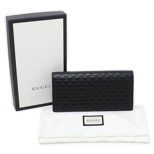 Gucci New Gucci Black Leather Microguccissima Bifold Wallet Card Case Clutch Image 5