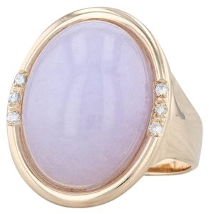 Other Lavender Jadeite Jade Diamond Ring - 14k Gold Size 8 Oval Solitaire