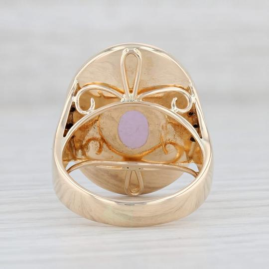 Other Lavender Jadeite Jade Diamond Ring - 14k Gold Size 8 Oval Solitaire Image 3