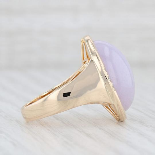 Other Lavender Jadeite Jade Diamond Ring - 14k Gold Size 8 Oval Solitaire Image 4