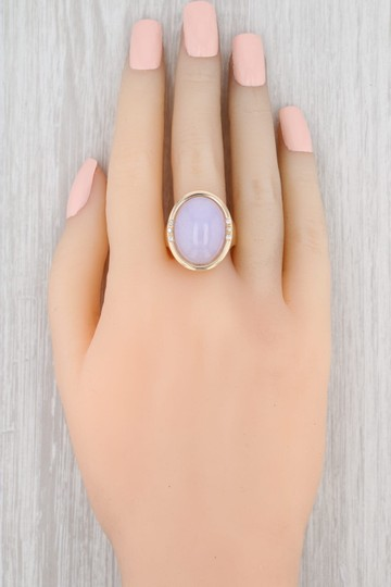 Other Lavender Jadeite Jade Diamond Ring - 14k Gold Size 8 Oval Solitaire Image 7