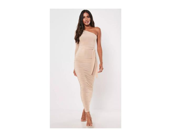 Preload https://img-static.tradesy.com/item/26649641/missguided-stone-one-shoulder-slinky-bodycon-ruched-midaxi-long-cocktail-dress-size-10-m-0-0-650-650.jpg