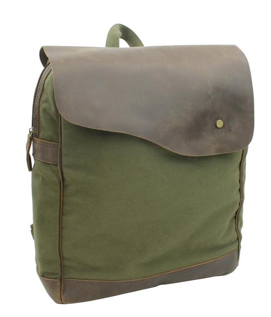 Item - Sport Cowhide Leather Cotton C15 Green Canvas Backpack