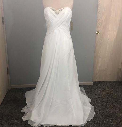 Preload https://img-static.tradesy.com/item/26649753/demetrios-white-chiffon-beaded-ruched-gown-casual-wedding-dress-size-10-m-0-0-540-540.jpg