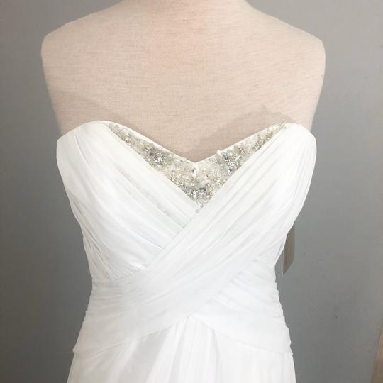 Demetrios White Chiffon Beaded Ruched Gown Casual Wedding Dress Size 10 (M) Image 1