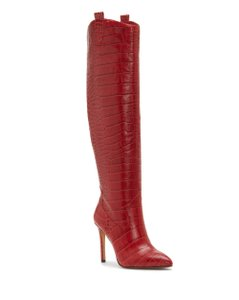Vince Camuto Crocodile Embossed Red Boots