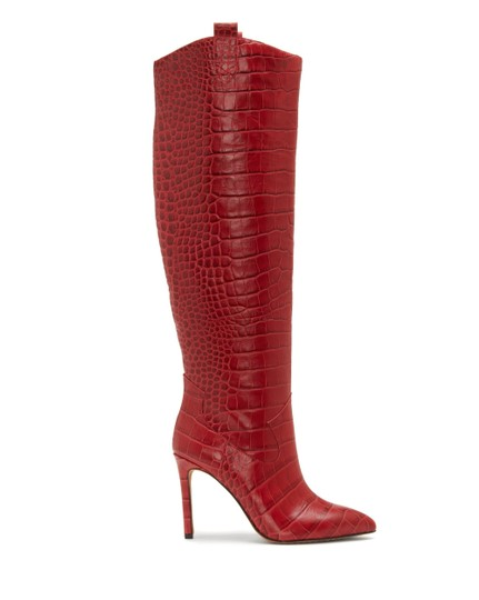Vince Camuto Crocodile Embossed Red Boots Image 4