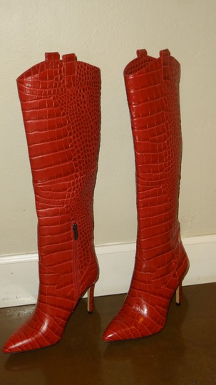 Vince Camuto Crocodile Embossed Red Boots Image 7