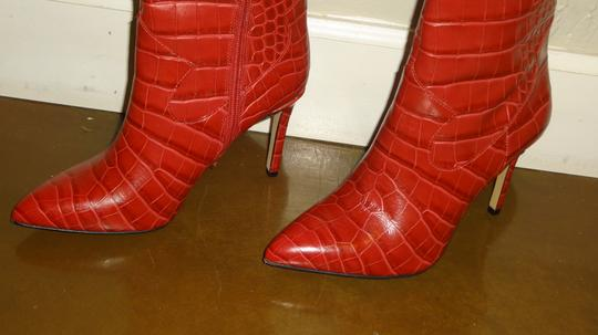 Vince Camuto Crocodile Embossed Red Boots Image 8