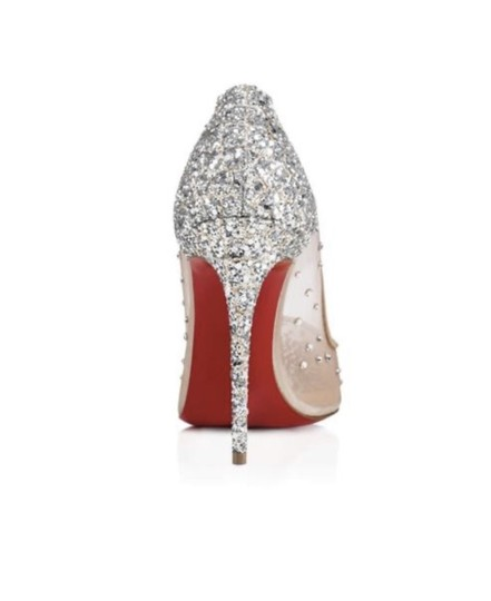 Christian Louboutin Crystal Party Stiletto Mesh Silver Glitter Grenadine Pumps Image 1