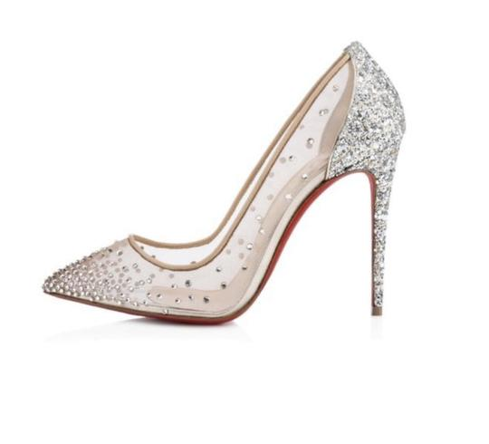 Christian Louboutin Crystal Party Stiletto Mesh Silver Glitter Grenadine Pumps Image 2