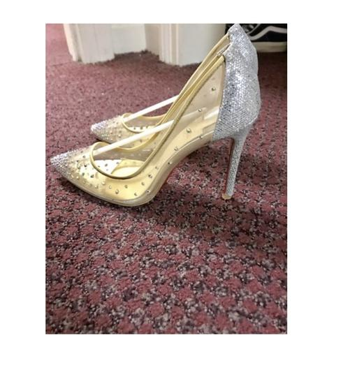 Christian Louboutin Crystal Party Stiletto Mesh Silver Glitter Grenadine Pumps Image 4