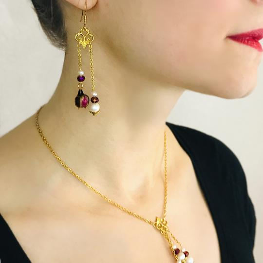 Other Real Rose Freshwater Pearl Art Nouveau Chandelier Handmade Earrings Image 1