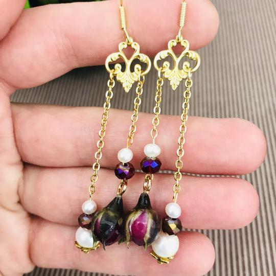 Other Real Rose Freshwater Pearl Art Nouveau Chandelier Handmade Earrings Image 10