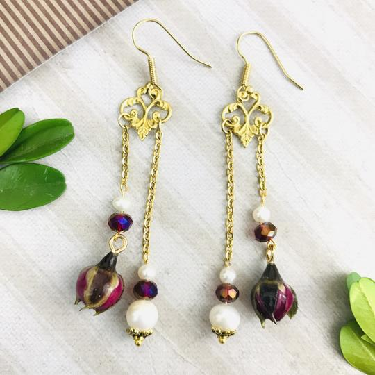 Other Real Rose Freshwater Pearl Art Nouveau Chandelier Handmade Earrings Image 2