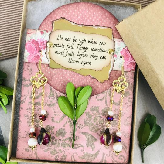 Other Real Rose Freshwater Pearl Art Nouveau Chandelier Handmade Earrings Image 5