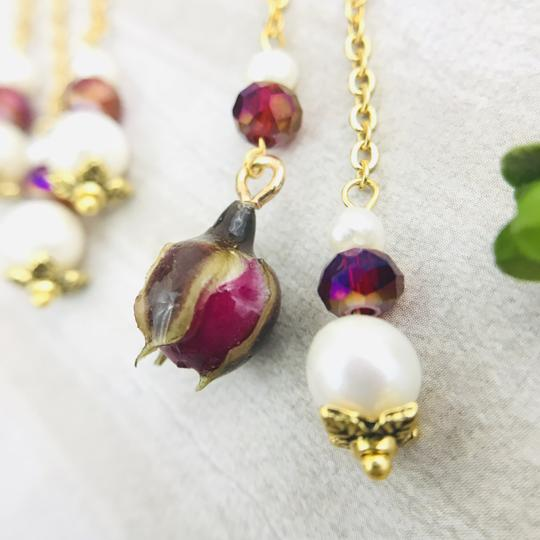 Other Real Rose Freshwater Pearl Art Nouveau Chandelier Handmade Earrings Image 9