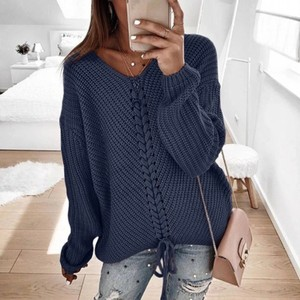 PickYourLook Winter Lace Up V-neck Knitted Large Sweater