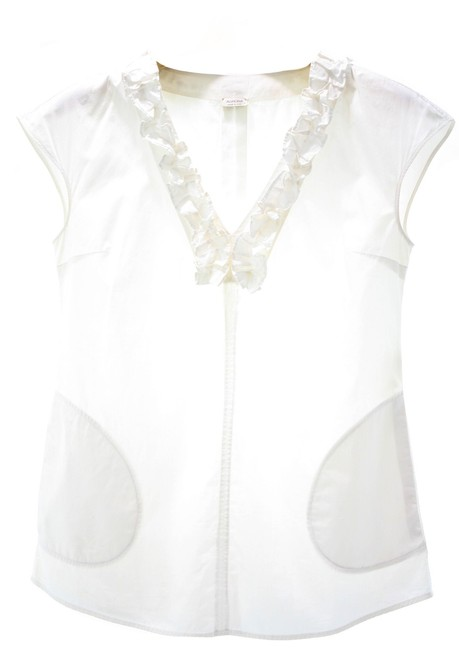 Preload https://img-static.tradesy.com/item/26650020/agnona-white-short-sleeved-v-neck-with-ruffled-neckline-blouse-size-0-xs-0-0-650-650.jpg