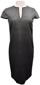 Burberry Wool Ombre Leather Trim Dress